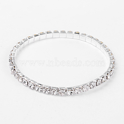 Valentines Day Gifts for Her Single Row Stretch Rhinestone Tennis Bracelets, with Brass Findings, White, 50mm(X-B115-1)