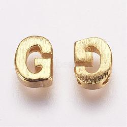 Breloques en laiton, véritable 18k plaqué or, letter.g, 5.5x4x2mm, Trou: 1mm(KK-P081-G)