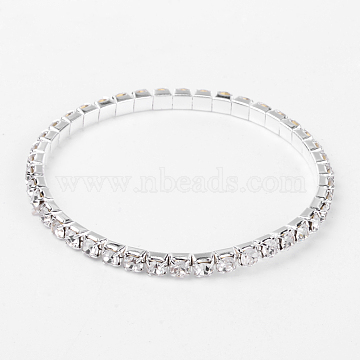 Sport Theme, Valentines Day Gifts for Her Single Row Stretch Rhinestone Tennis Bracelets, with Brass Findings, White, 50mm(X-B115-1)