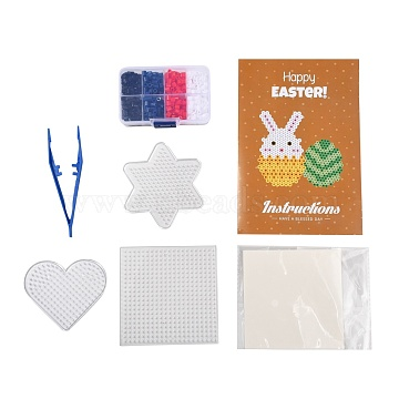4 Colors DIY Fuse Beads Kit, with Mixed Shape ABC Plastic Pegboards, Ironing Paper and Plastic Tweezers, America Theme, Mixed Color, 5x5mm, Hole: 3mm; 500pcs(DIY-X0295-02C-5mm)