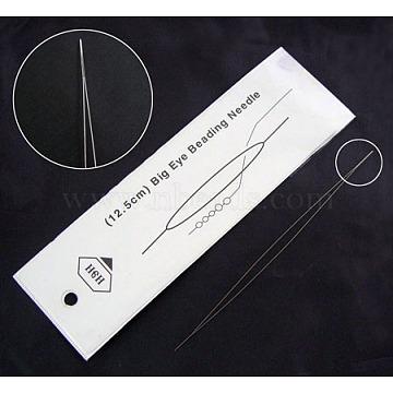 Stainless Steel Big Eye Beading Needles, Seed Bead Needle, Stainless Steel Color, 100x0.3mm(ES001Y-10cm)