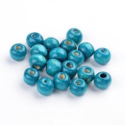 Деревянные бусины, рондель, без свинца, окрашенные, темно-синие, бусины : 8 мм диаметром, отверстие: 3 мм(X-YTB022-11)