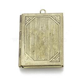 Pendentifs de médaillon en laiton, breloques cadre de photo pour colliers, livre, bronze antique, 39x27x6mm, trou: 2 mm; mesure intérieure: 29x18 mm(X-KK-Q668-02AB)