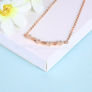Fashion Sterling Silver Pendant Necklaces, with Cubic Zirconia, Rose Gold, 15.75 inches(40cm)(NJEW-BB28827-B)