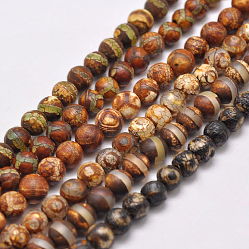 Natural Tibetan Style Mixed Pattern dZi Beads Strands, Dyed & Heated, Round, about 6mm, Hole: 2mm; about 32pcs/strand, 6.9 inches(X-G-P229-B-07-6mm)