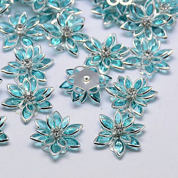 Acrylic Rhinestone Flower Flat Back Cabochons, with Brass Findings, PaleTurquoise, 24x7mm(X-GACR-R016-14)