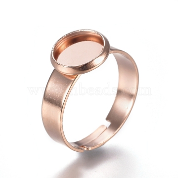 Adjustable 304 Stainless Steel Finger Rings Components, Pad Ring Base Findings, Flat Round, Rose Gold, Tray: 8mm; 17.5mm(STAS-E484-44B-RG)