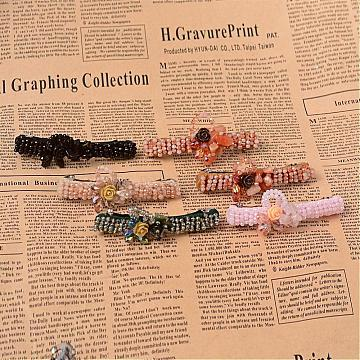 Fashionable Iron Hair Barrettes, with Glass Bead, Gemstone Chip Beads and Resin Flower, Mixed Color, 84x15x22mm(OHAR-L008-F)