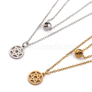 304 Stainless Steel Double Layer Necklaces(NJEW-F280-14)-1