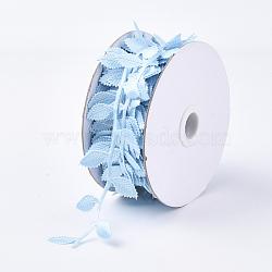 cordons de tissu, Accessoires d'ornement, feuille, bleu clair, 42 mm; sur 20 m / rouleau(FIND-T057-10C)
