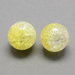 Perles acryliques craquelées transparentes à deux tons, moitié peint à la bombe, rond, jaune de champagne, 8mm, trou: 2 mm; environ 1892 pcs / 500 g(CACR-R009-8mm-09)