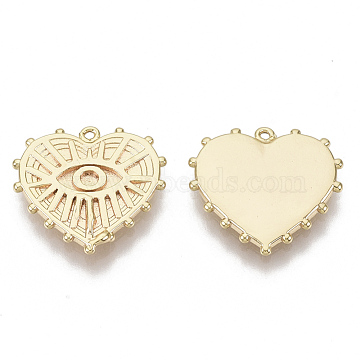 Brass Pendant Enamel Settings, Nickel Free, Heart with Eye, Real 18K Gold Plated, 14x15x2mm, Hole: 0.8mm(KK-S354-202-NF)