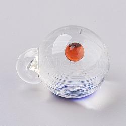 Pendentifs vernissés, boule d'univers de galaxie, rond, orange rouge , 27.5x21x20mm, Trou: 2.5mm(LAMP-K032-E04)