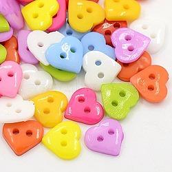 Boutons de couture en acrylique pour la création de costumes, boutons de cœur, 2-trou, teint, couleur mixte, 10x10x2mm, Trou: 1mm(X-BUTT-E085-C-M)