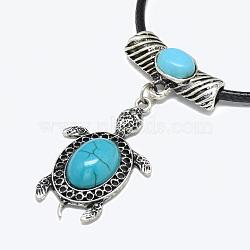 Colliers avec pedentifs en alliage, avec cordon turquoise et ciré, tortue, argent antique, 17.3''~17.3'' (44~45cm); 2mm(X-NJEW-S386-19)