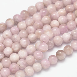 "Brins de perles rondes naturelles en kunzite / spodumène, grade AB, 6mm, trou: 1mm; environ 63 pcs/chapelet, 15.5""(G-K068-28-6mm)"