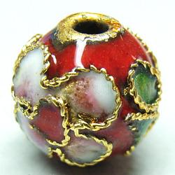 Handmade Cloisonne Beads, Filigree Round, Red, 10mm, Hole: 1mm(X-CLB10mmC04)