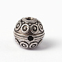 Tibetan Style Alloy 3 Hole Guru Beads, T-Drilled Beads, Round, For Buddhist Jewelry Making, Antique Silver, 12mm, Hole: 2mm