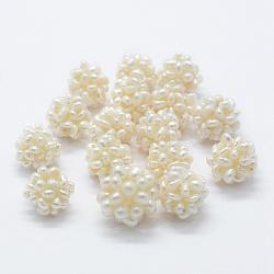 culture des perles perles d'eau douce naturelles, perles de grappe de boules faites à la main, arrondir, Floralwhite, 15~16 mm, trou: 3 mm(X-PEAR-P056-027B)