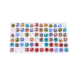 Perles de verre tchèques, facette, Toupie, couleur mixte, 8 mm de diamètre, trou: 1 mm; 144 PCs / sac(302-8mm-M)