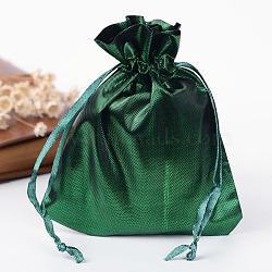 Sacs en tissu rectangle, avec cordon de serrage, seagreen, 12x9 cm(X-ABAG-R007-12x10-06)