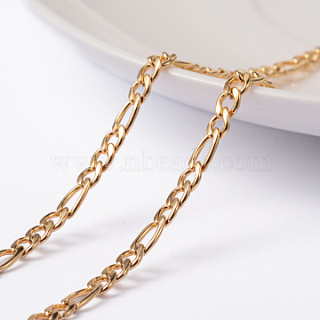 Vacuum Plating 304 Stainless Steel Figaro Chains, Unwelded, Golden, 4x3x0.8mm, 6.5x3x0.8mm(X-CHS-L014-05G)