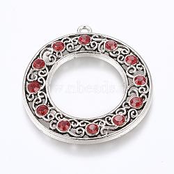 Pendentifs en alliage de style tibétain avec strass, anneau, argent antique, siam, 44x41x4mm, Trou: 2mm(RB-J149-21AS-A)