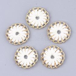 тканые подвески из ниток, сплава с выводами, плоские круглые, золотой, кремово-белый, 27~27.5x3~4 mm, отверстия: 3~5 mm(FIND-S306-11I)
