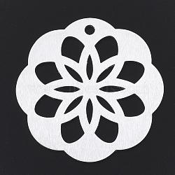 gros pendentifs en aluminium, laser coupé gros pendentifs, fleur, argent, 50x48x1 mm, trou: 3 mm(X-ALUM-T001-42S)