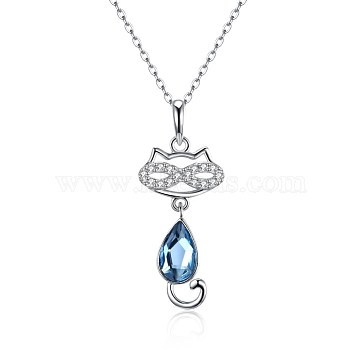 400mm Sterling Silver+Austrian Crystal Necklaces