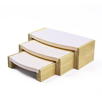 Bamboo Display Risers, Jewelry Display Riser Shelf Showcase Fixtures, 3 Showcase Shelf, with Microfiber Cloth, Wheat, L: 24x12x8cm; M: 19.5x11.5x6cm; S: 15.5x11.5x4cm; 3pcs/set(BDIS-L004-01B)