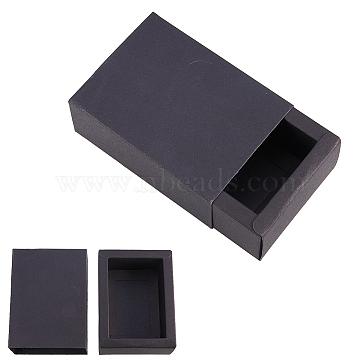 Kraft Paper Drawer Box, Folding Box, Corrugated E-flute Box, Rectangle, Black, 11x8cm; Finished Product: 9x6x4cm, 20pcs/set(CON-YW0001-03B-B)