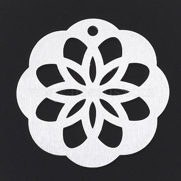Aluminium Big Pendants, Laser Cut Big Pendants, Flower, Silver Color Plated, 50x48x1mm, Hole: 3mm(X-ALUM-T001-42S)