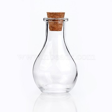 Glass Bottle for Bead Containers, with Cork Stopper, Wishing Bottle, Clear, about 8.8cm high, 4.9cm wide, Hole: 15mm, Bottleneck: 2.1~2.2cm in diameter; Capacity: 55ml(1.85 fl. oz)(X-AJEW-H006-1)