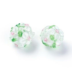 Fait main perles au chalumeau cahoteuses, rond, blanc, 12~13mm, Trou: 1.5~1.6mm(LAMP-E021-06J)