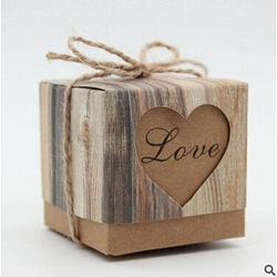 Vintage Kraft Paper Candy Boxes, Hollow Heart Gift Box, Retro Wedding Candy Holder Bags Party Decorations, with Hemp Rope, BurlyWood, 5x5x5cm(X-CON-WH0021-C01)