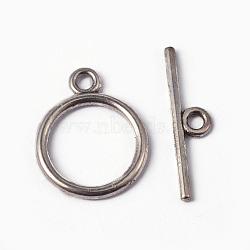 Fermoirs T de style tibétain , sans plomb et sans cadmium et sans nickel, anneau, argent antique, taille: anneau: environ 15 mm de diamètre, épaisseur de 2mm, Trou: 2mm, bar: 21 mm de long, Trou: 2mm(X-TIBEP-A12208-S-FF)