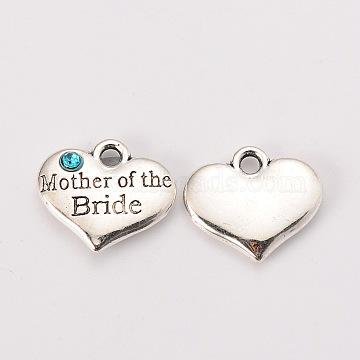 Wedding Theme Antique Silver Tone Tibetan Style Alloy Heart with Mother of the Bride Rhinestone Charms, Cadmium Free & Lead Free, Aquamarine, 14x16x3mm, Hole: 2mm(X-TIBEP-N005-18D)