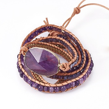 5-Loops Leather Cord Wrap Bracelets, with Glass Beads Natural Amethyst, Synthetic Hematite and Alloy Findings, Purple, 35.4inches(90cm), 7~11mm; Pendant: 42~46x25~29x7~11mm(BJEW-I276-02)