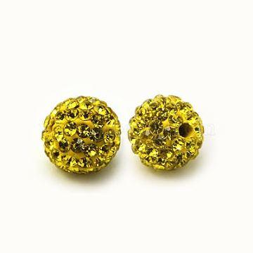 Perles de strass en argile polymère, Perles de boule pavé disco , Grade a, rond, pp 15, citrine, 10mm, Trou: 1.8~2mm(X-RB-C1438-10mm-A19)