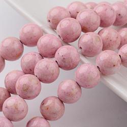 """Chapelets de perles en fossiles naturelles teintées, rond, rose, 6mm, trou: 0.8mm; environ 68 pcs/chapelet, 16""""(G-E328-6mm-03)"""