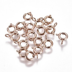 304 пружинные кольца из нержавеющей стали, розовое золото, 6x1.6 mm, отверстия: 1.6 mm(STAS-F224-02RG-B)