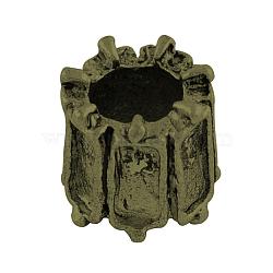 Tibetan Style Alloy Column European Beads Cabochon Settings, Large Hole Beads, Nickel Free & Lead Free, Antique Bronze, Tray: 5x2mm; 8x8mm, Hole: 5mm(X-TIBEP-7688-AB-NR)