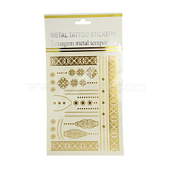 Cool Body Art Mixed Floral Pattern Removable Fake Temporary Tattoos Metallic Paper Stickers, Gold, 5~180x8~93mm; 1pcs/bag(AJEW-I008-08)