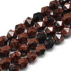 acajou naturel perles obsidienne brins, étoiles coupées perles rondes, facettes, 9.5~10x9 mm, trou: 1.5 mm; environ 37~39 perle / brin, 14.9(G-S149-15-10mm)