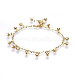 """Bracelets de cheville en 304 acier inoxydable avec pendentif, fermoirs pince de homard et les chaînes du câble, rond, or, 9-7/8"""" (25 cm); charmes: 11x5mm(AJEW-L065-10G)"""