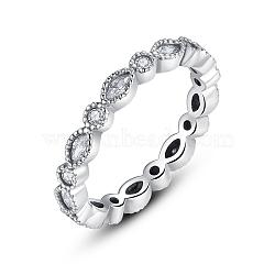 Tendances chaudes 925 en argent sterling anneaux zircone cubique doigt, clair, 18mm(RJEW-FF0001-09-18mm)