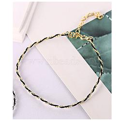 925 bracelets en argent sterling, avec cordon en cuir, noir, or(BJEW-AA00086-03G-01)