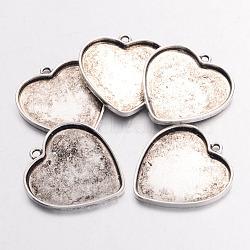 Pendentif de support de cabochon en alliage, cuvettes à bord droit, cœur, sans plomb et sans nickel, argent antique, 29x27x2mm, trou: 2 mm; plateau: 25.5x23.5 mm(X-PALLOY-AD93279-AS-FF)