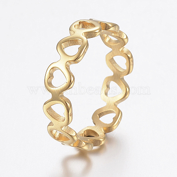304 Stainless Steel Finger Rings, Hollow, Heart, Golden, Size 7, 17mm(X-RJEW-H125-05G-17mm)